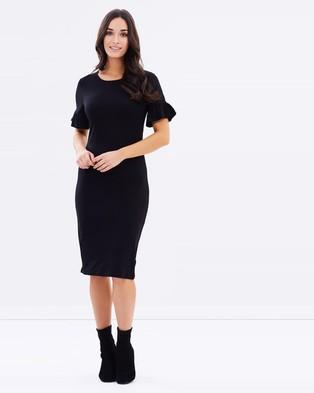 Dorothy Perkins – Flutter Sleeve Body Con – Bodycon Dresses (Black)