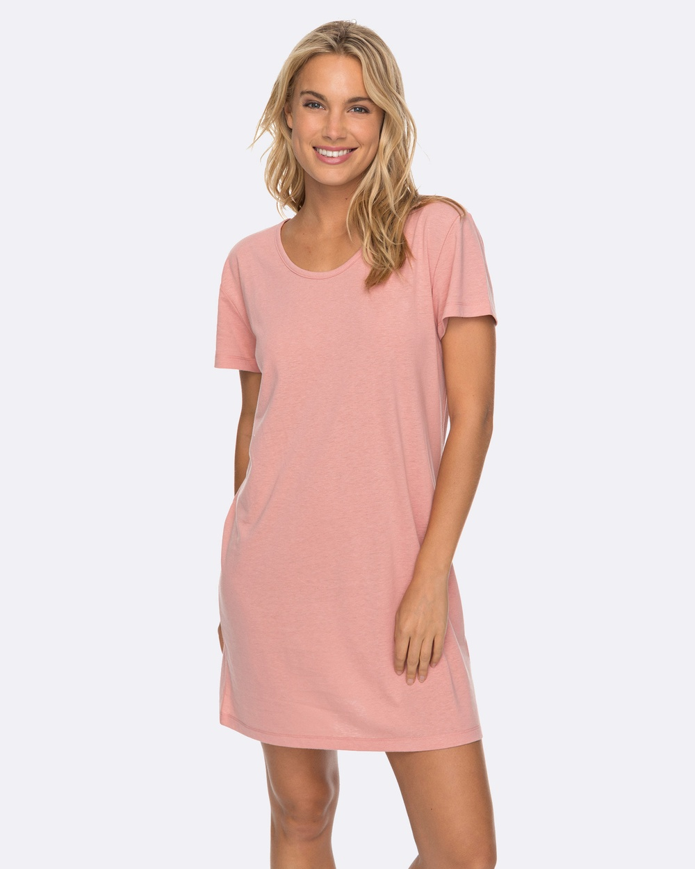 Roxy Womens Just Simple Solid T Shirt Dress Swimwear ROSE TAN Womens Just Simple Solid T Shirt Dress