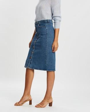 Sportscraft Ramie Denim Button Skirt - Denim skirts (blue)