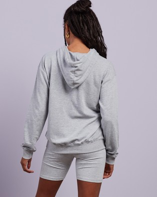 Missguided Co Ord Hoodie Cycling Shorts Set Hoodies Grey Marle Co-Ord