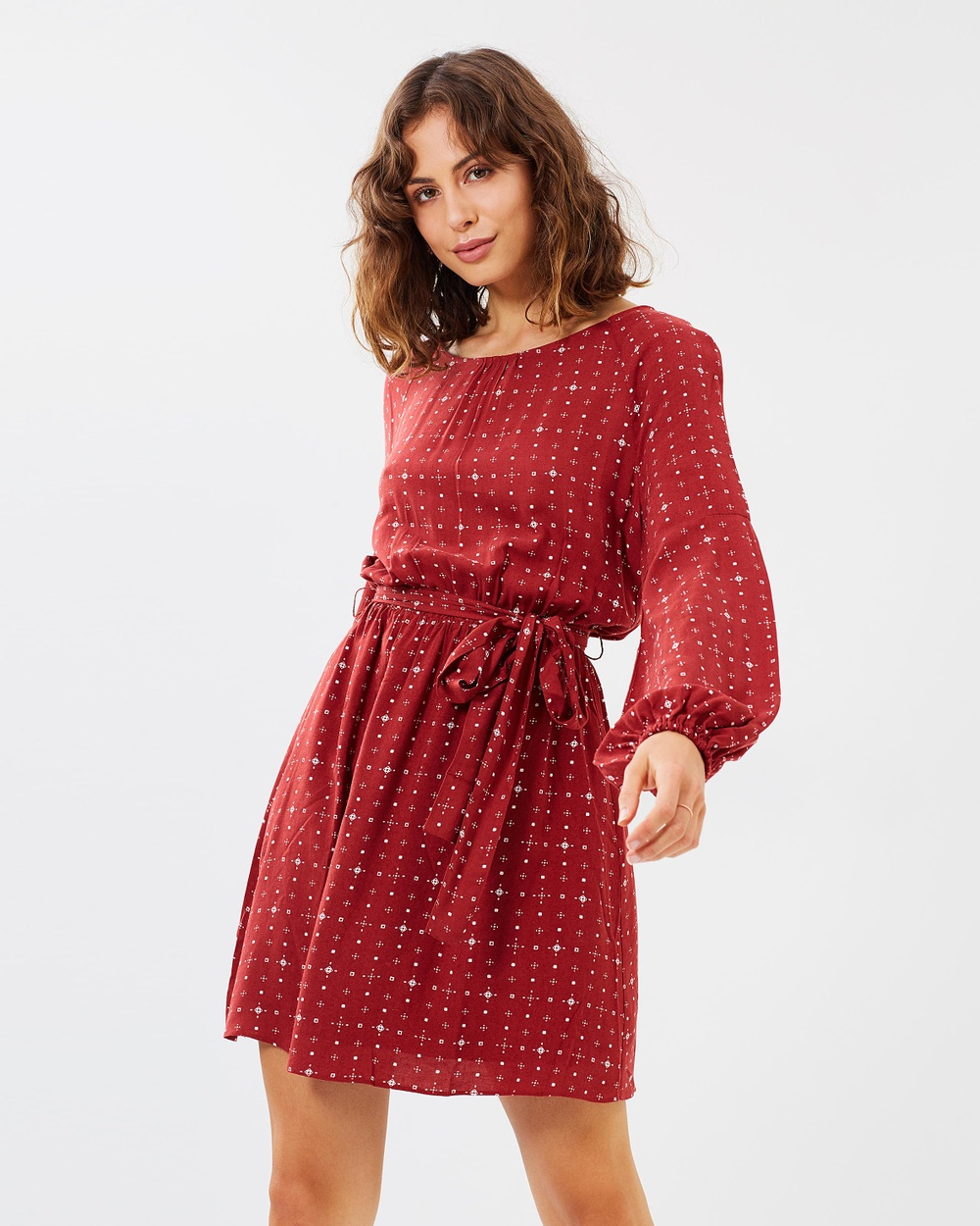 Atmos & Here ICONIC EXCLUSIVE Minnie Fit and Flare Dress Printed Dresses Ruby Aztec ICONIC EXCLUSIVE Minnie Fit-and-Flare Dress