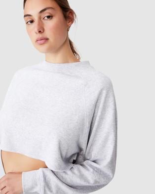 Cotton On Body Active Lifestyle Raglan Fleece Crop - Sweats (Grey Marle)