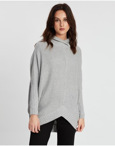 Pol Clothing Cove Draped Knit Silver