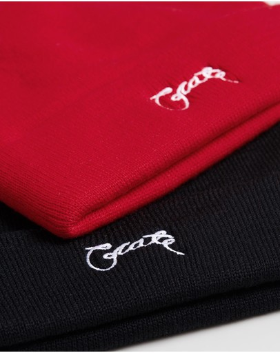 Crate Scripted Beanies 2-pack Black & Red