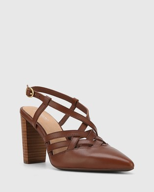 Wittner Hao Leather Pointed Toe Block Heels - Heels (Brown)