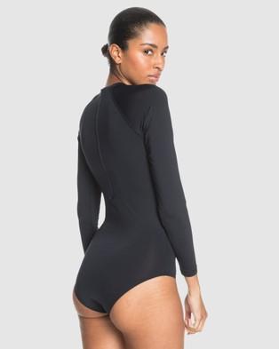 Roxy Womens Essentials Long Sleeve UPF 50 One Piece Rashguard - Rash Suits (Anthracite)