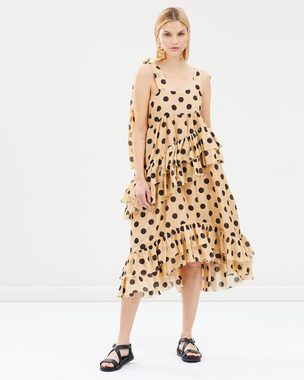 Lee Mathews Barley Minnie Spot Ruffle Apron Dress