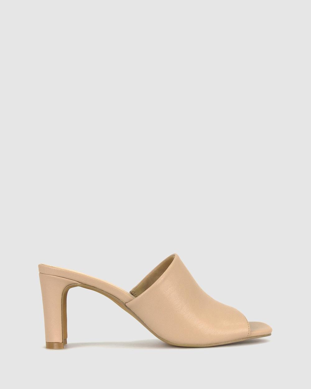 Betts Kara Square Toe Mules Sandals Nude