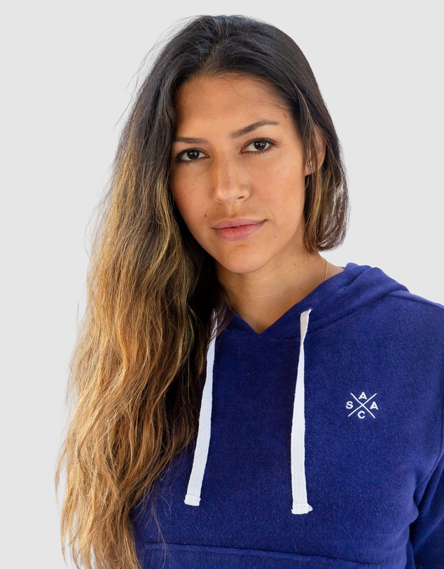 Women Andy Cohen Navy Terry Cropped Hoodie