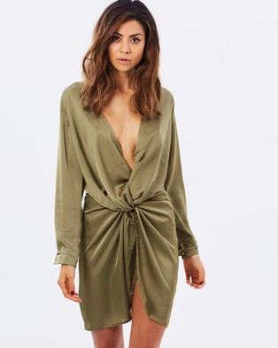 Lioness – Fame and Lust Silky Dress – Dresses (Olive)