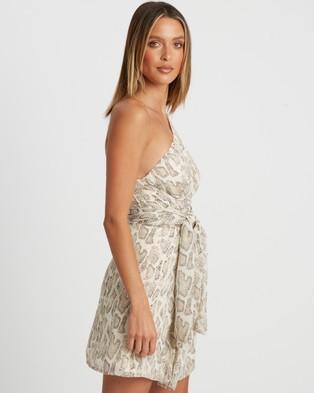 BWLDR Coda Mini Dress - Printed Dresses (Neutral Snake)