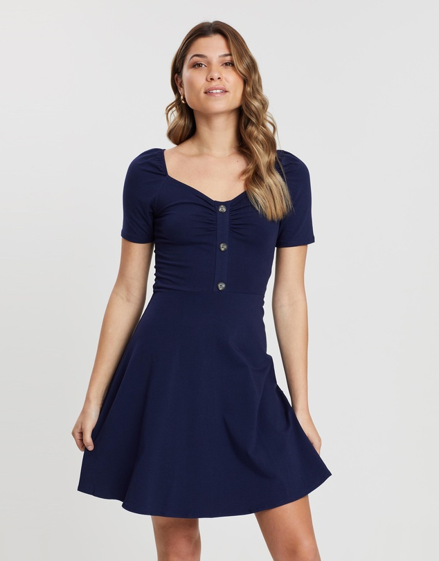 Sweetheart Button Detail Dress by Dorothy Perkins