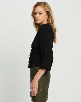 Dorothy Perkins Button Long Sleeve Top - Tops (Black)