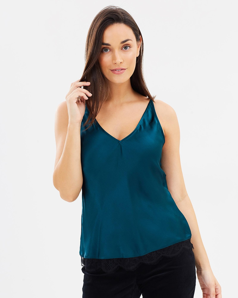 SABA Silk Satin Cami Tops green Silk Satin Cami