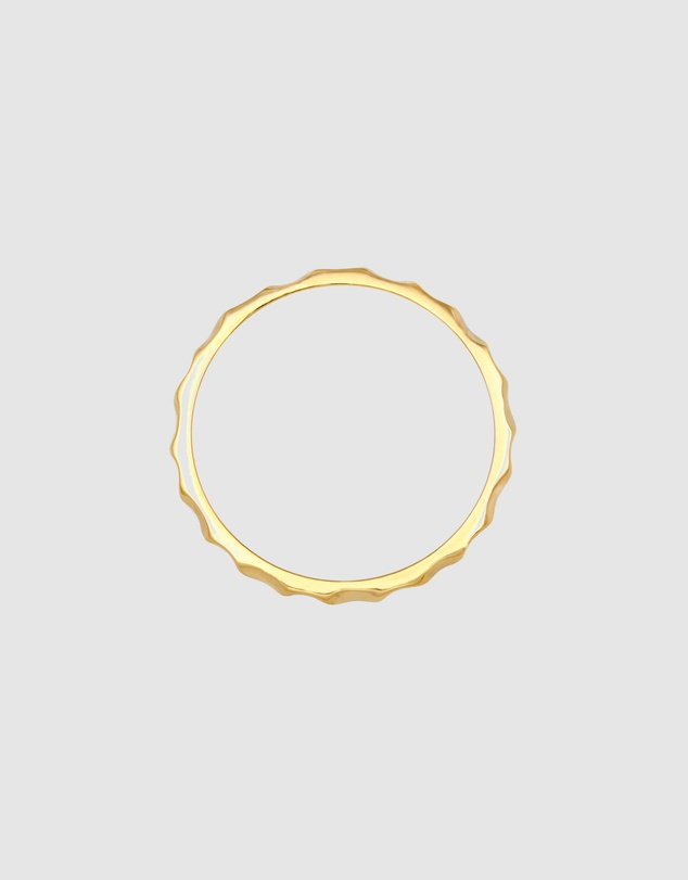Women Ring Stacking Filigree in Solid 375 Yellow Gold