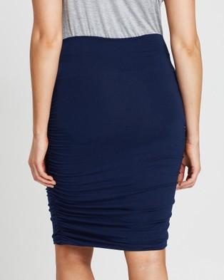 Angel Maternity Maternity Bodycon Side Ruching Skirt - Pencil skirts (Navy)