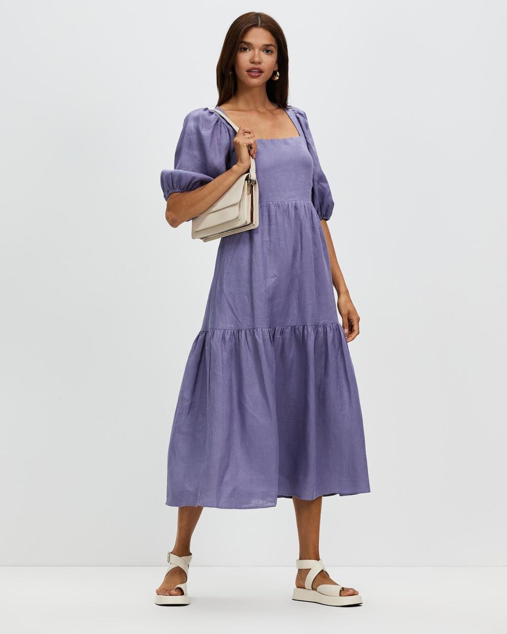 AERE Tie Back Linen Dress Dresses Bluebell