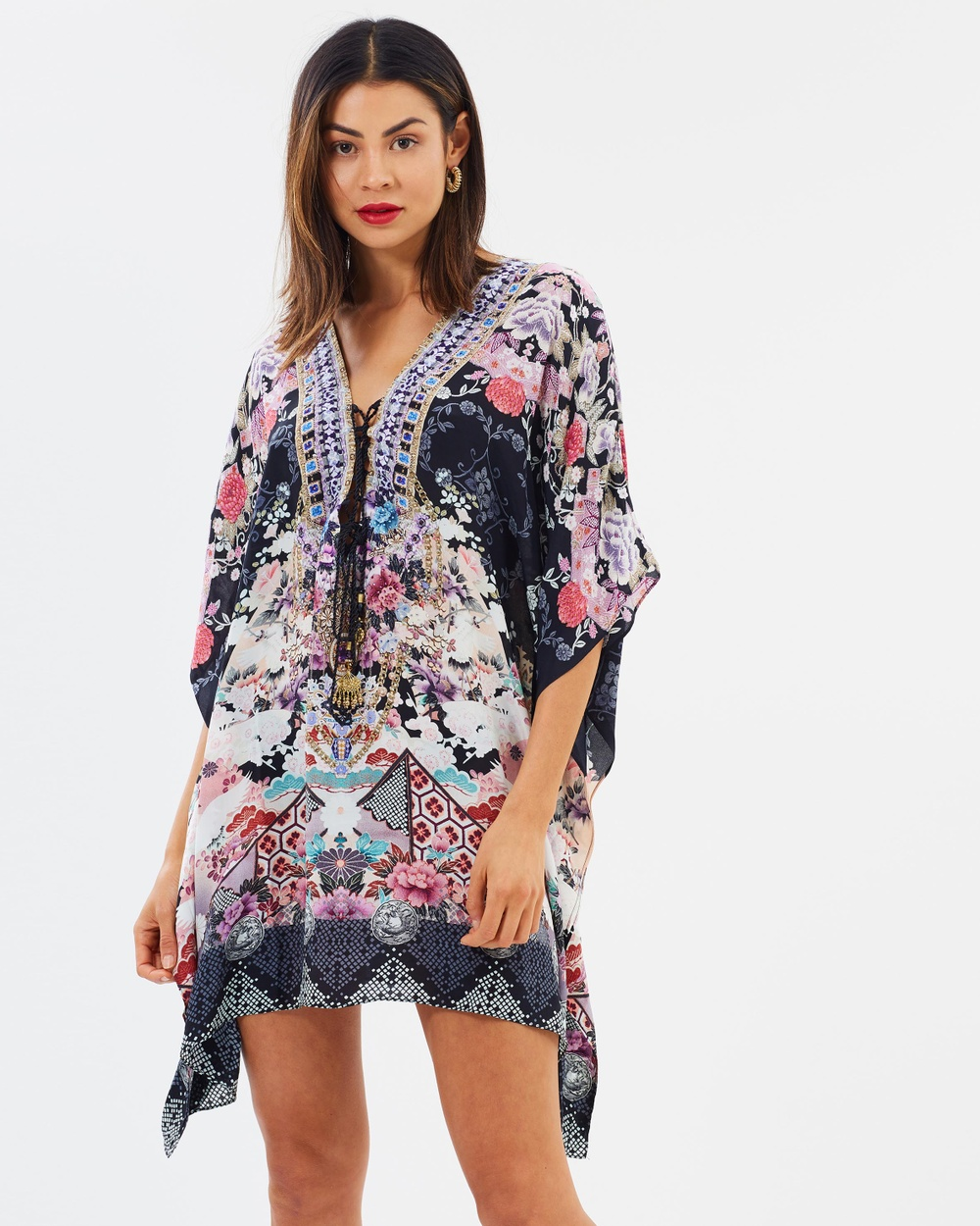 Camilla Short Lace Up Kaftan Printed Dresses Nights With Her Short Lace Up Kaftan