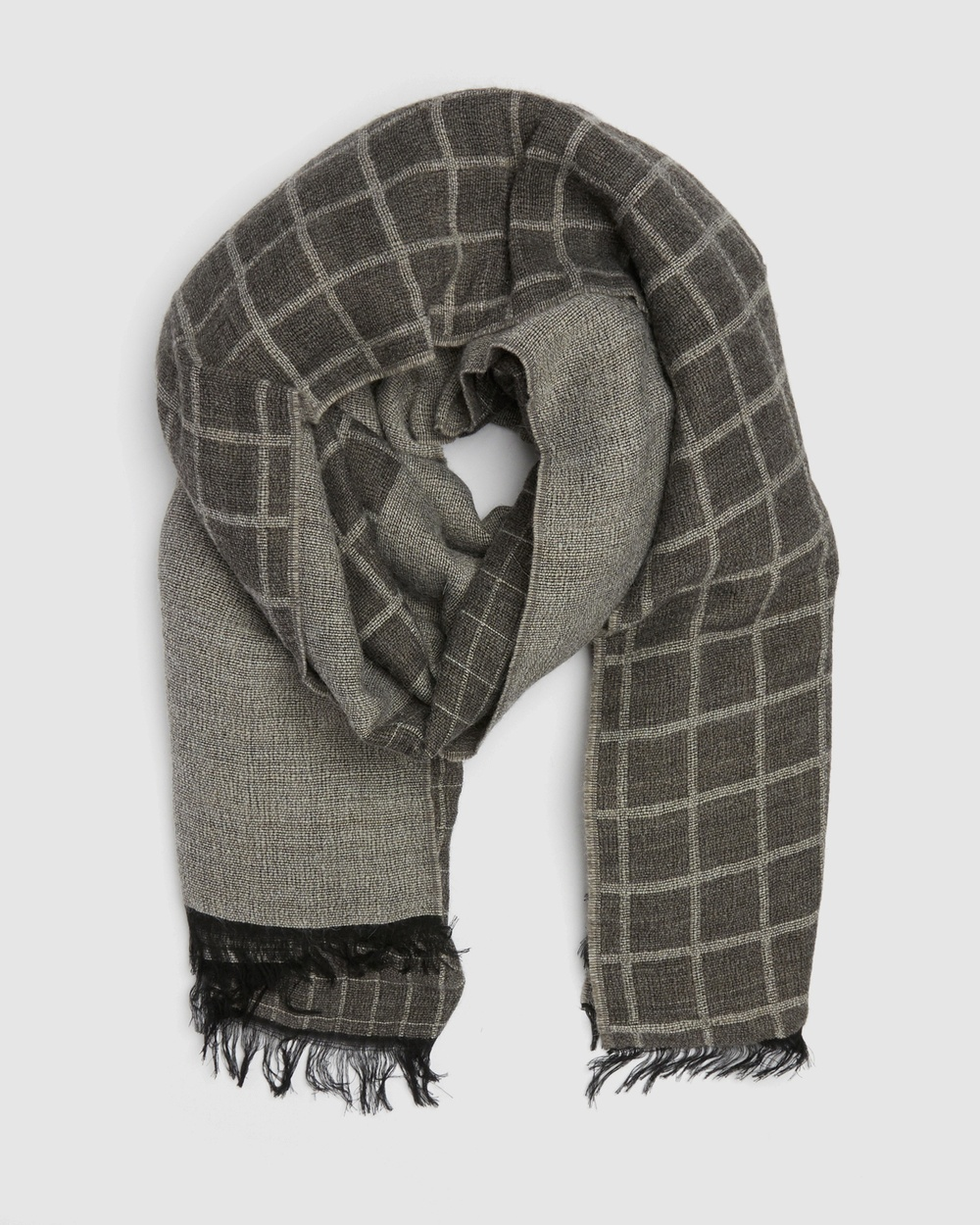 Kate & Confusion Windowpane Wool Blend Scarf Scarves Gloves Brown