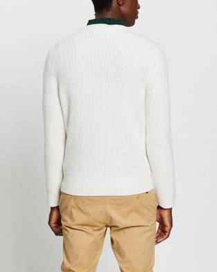 Kent and Curwen White Textured Wool Knit - Jumpers & Cardigans (White)