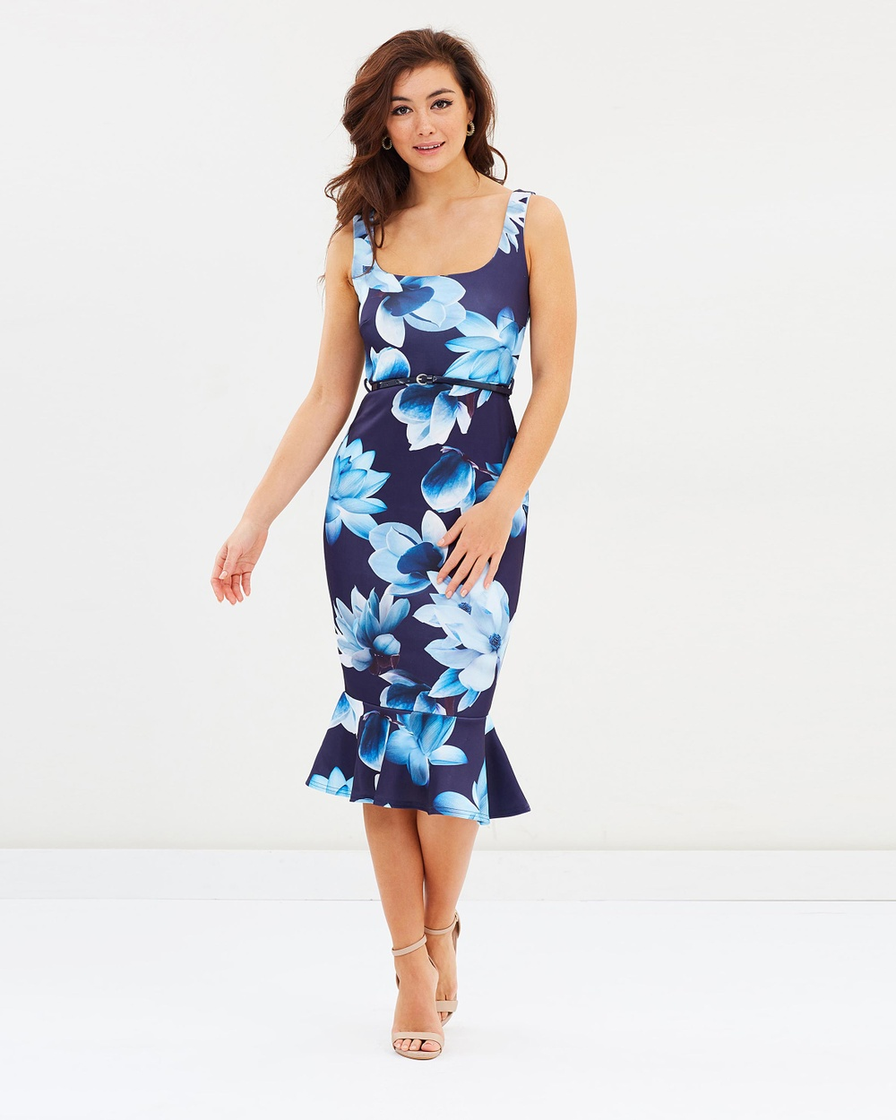 Lipsy Square Neck Belted Body Con Floral Dress Bodycon Dresses Navy Square Neck Belted Body-Con Floral Dress