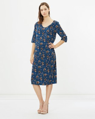 Lincoln St – V Neck 3 4 Sleeve Layering dress Winter Floral
