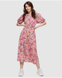 TOPSHOP - Daisy Bubble Sleeve Midi Dress