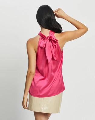 Glamorous Tie Neck Top - Tops (Hot Pink Sateen)
