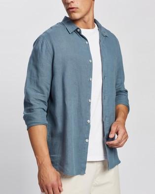 AERE LS Linen Shirt Casual shirts Steel Blue