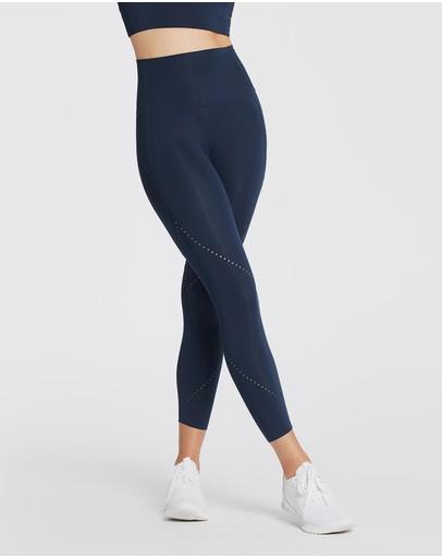 dancing Yellow and Orange Geo Print Leggings for yoga compression fabric performance leggings for women Blue streetwear running