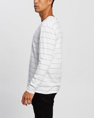 Cotton On Brunswick LS Stripe T Shirt - T-Shirts & Singlets (White & Black Spaced Stripe)