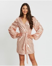 Missguided - Wrap Balloon Sleeve Sequinned Dress