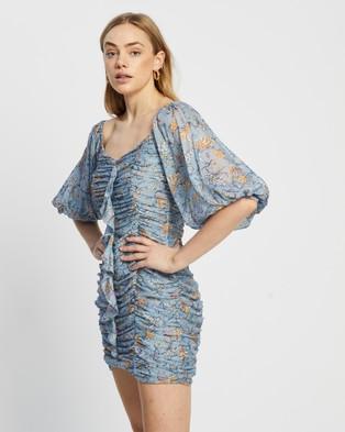 MINKPINK Cheyenne Ruched Mini Dress - Printed Dresses (Blue Floral)