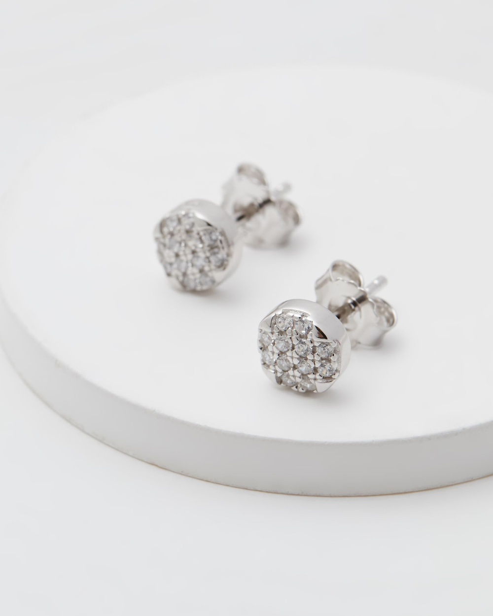 Michael Hill Round Stud Earrings with Luxe Cubic Zirconia Jewellery Sterling Silver