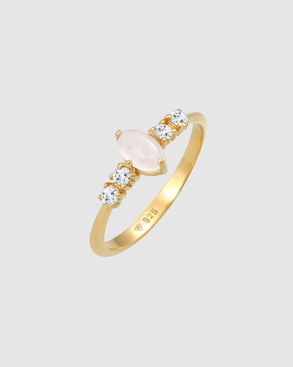 Elli Jewelry Ring Oval Engagement Elegant Sparkling with Pink Quartz and Topaz in 925 Sterling Silver Gold Plated Jewellery Gold