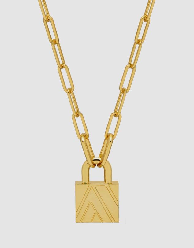Men Chevron Padlock Chain Necklace