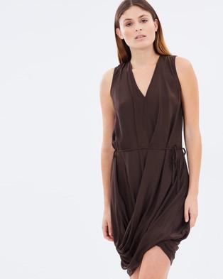 Gary Bigeni – Lung Drape V Neck Dress Dark Chocolate