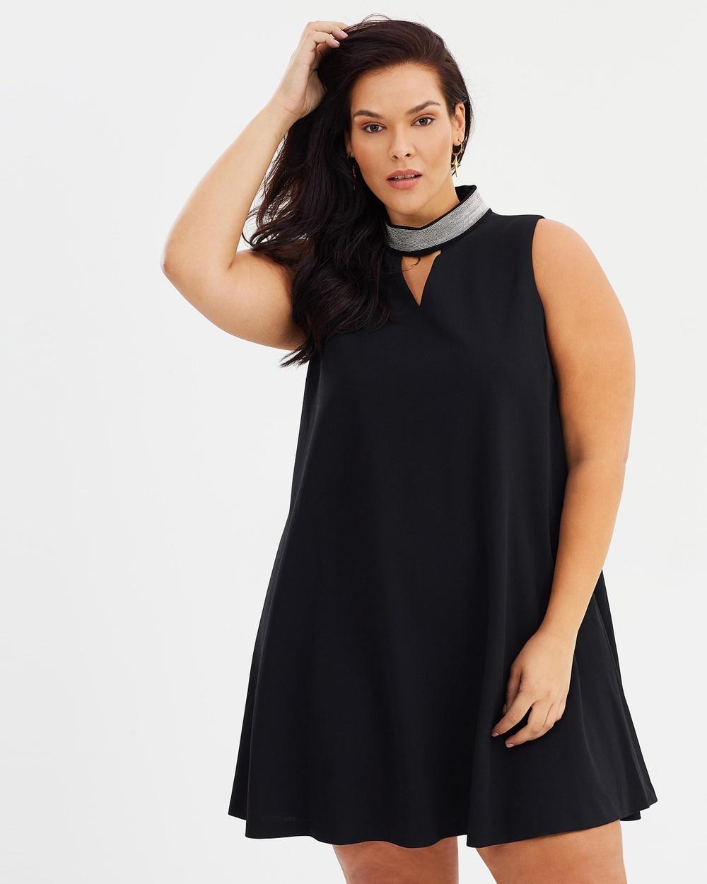Rebel Wilson x Angels Beaded Choker Dress Dresses Black Beaded Choker Dress