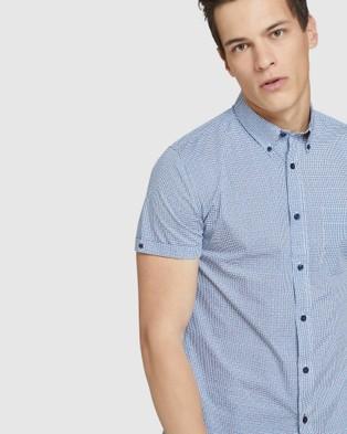 Oxford Tottenham Printed S s Shirt - Shirts & Polos (Blue)
