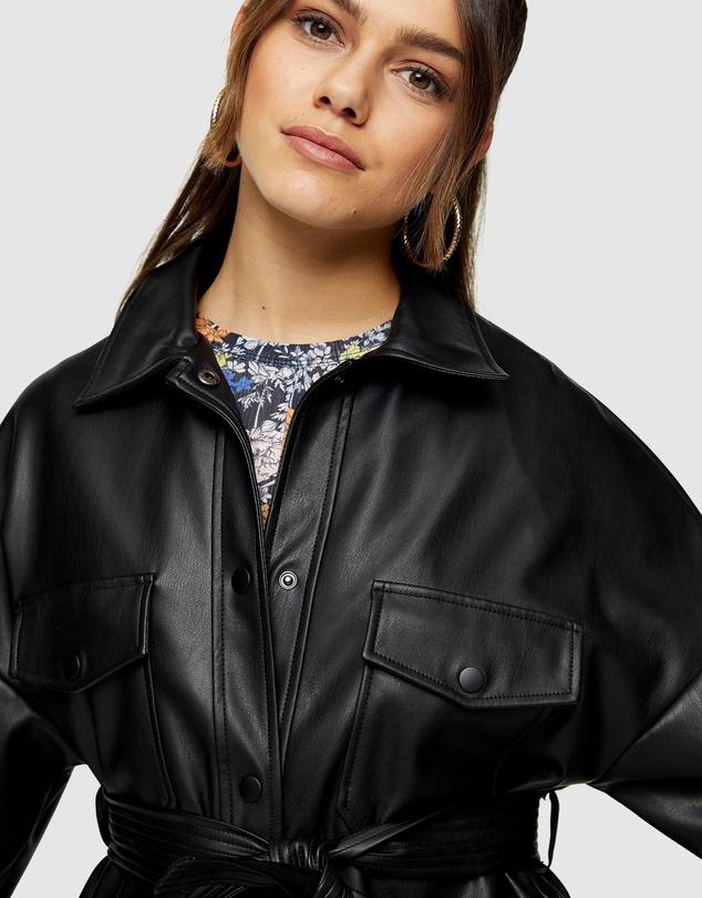 Women Petite PU Tie Jacket