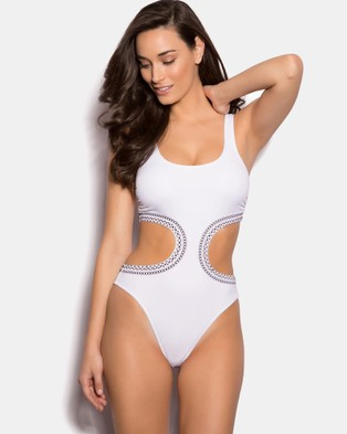 Bras N Things – Aztec Embroidery One Piece – One-Piece Swimsuit White
