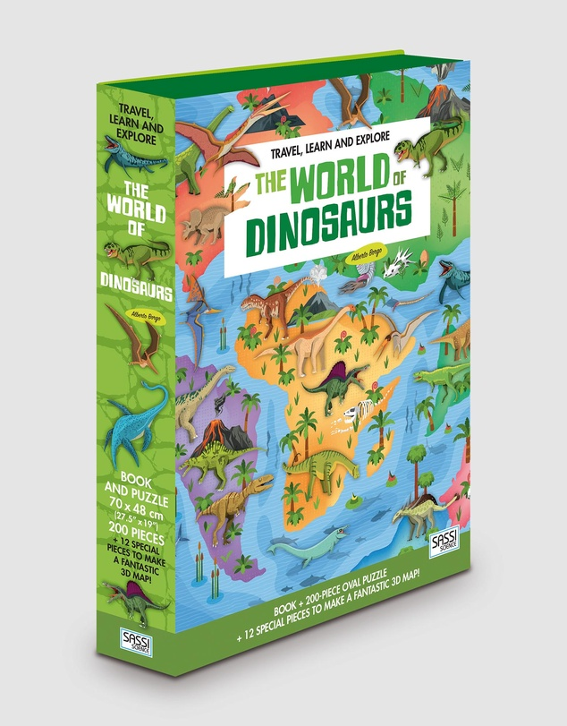 Sassi - Travel, Learn and Explore Book and 3D Puzzle - World of Dinosaurs