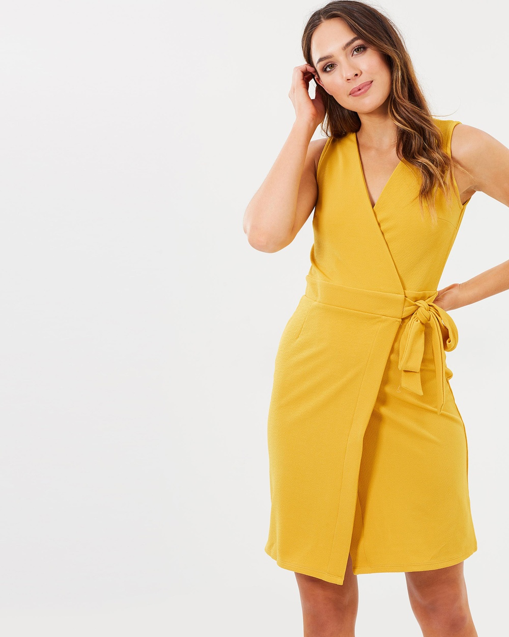Dorothy Perkins Sleeveless Wrap Dress Dresses Ochre Sleeveless Wrap Dress