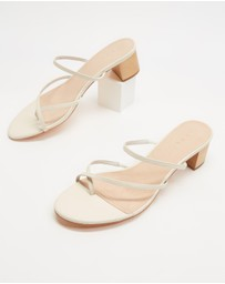 AERE - Crossover Toe Post Leather Heels