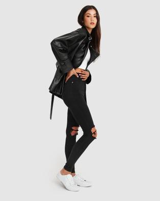 Belle & Bloom BFF Belted Leather Jacket - Coats & Jackets (Black)