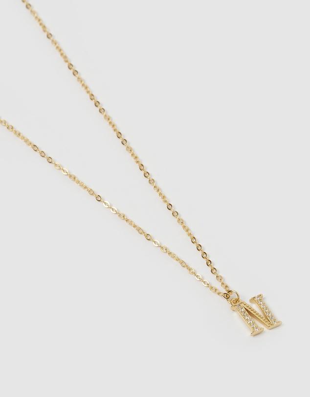 Women Crystal Letter N Necklace Gold