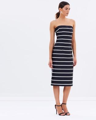 BY JOHNNY. – Bold Stripe Structured Strapless Dress – Dresses (Black White)