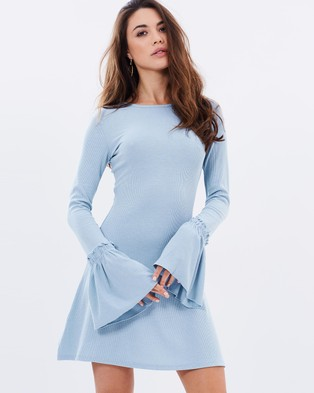 Atmos & Here – Marsha High Neck Shift Dress Blue