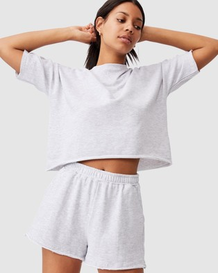 Cotton On 90s Sweat Shorts - High-Waisted (Silver Marle)