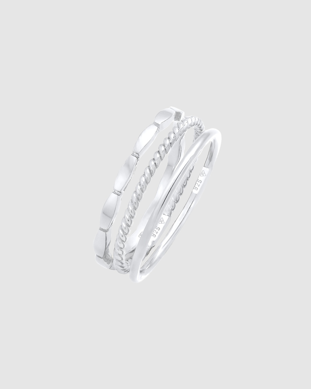 Elli Jewelry Ring Stacking Set Trio Basic Minimalist Timeless in 925 Sterling Silver Jewellery Silver